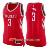 Camiseta Chris Paul NO 3 Houston Rockets Mujer Nike Icon 2017-18 Rojo